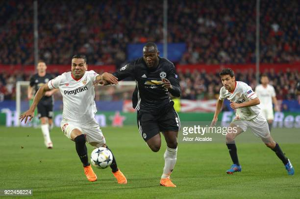Gabriel Mercado of Sevilla in action with Romelu Lukaku of Manchester United during the UEFA Champions League Round of 16 First Leg match between...