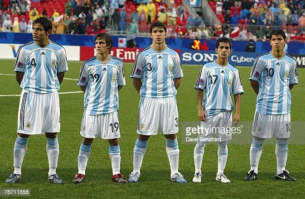 Gabriel Mercado Pablo Piatti Emiliano Insua Maximiliano Moralez and Juan Arenas of Argentina look on prior to playing Chile in the FIFA U20 World Cup...