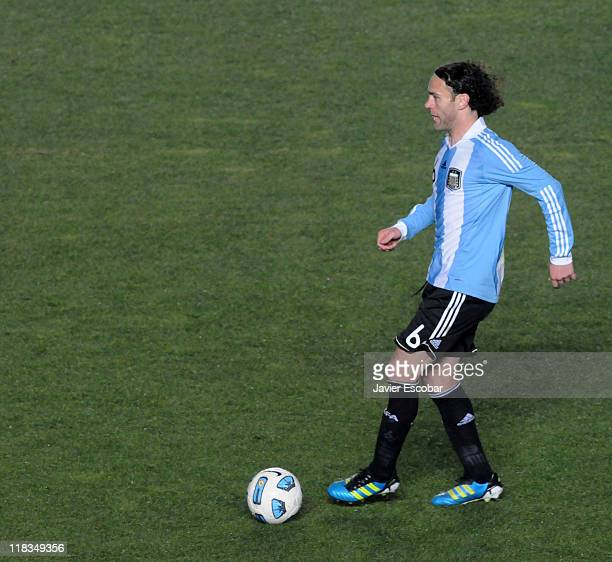 Gabriel Milito from Argentina in action during a match between Colombia and Argentina as part of the group A of the Copa America 2011 at Brigadier...