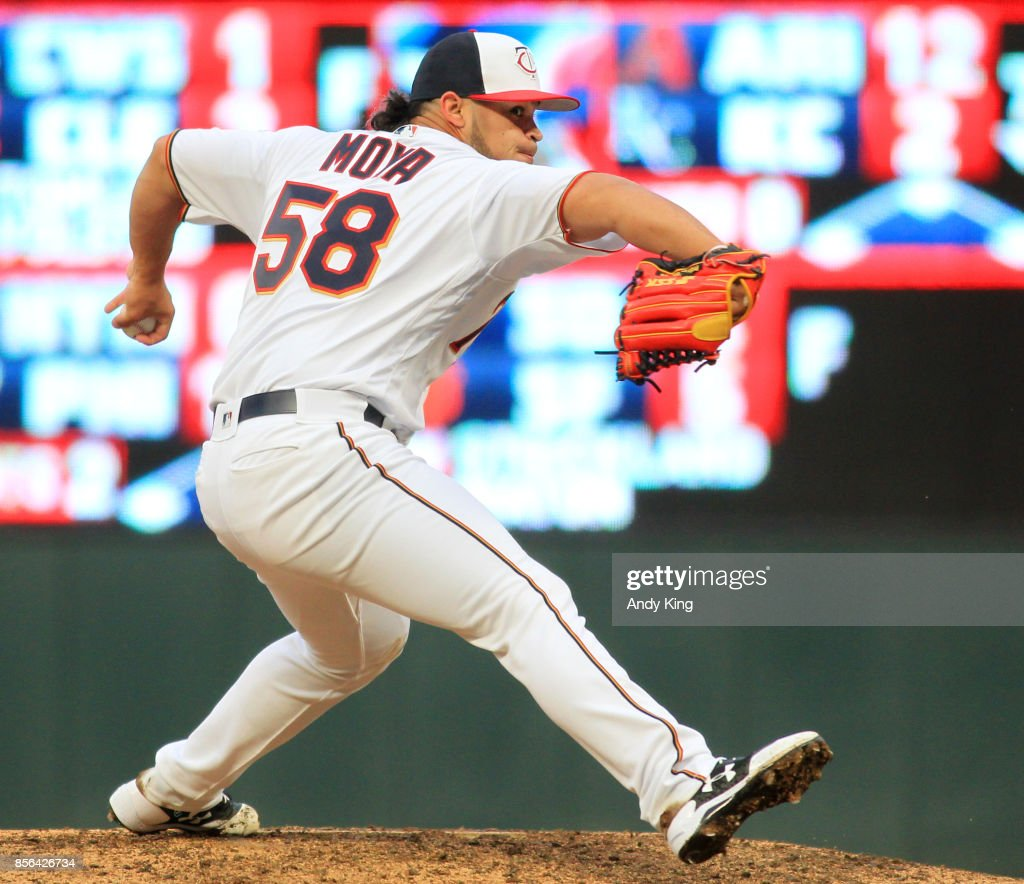 Gabriel Moya #58 of the Minnesota Twins pitches against the Detroit Tigers in the ninth inning during their baseball game on October 1, 2017, at Target Field in Minneapolis, Minnesota.