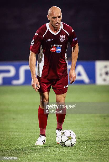 Gabriel Muresan of CFR 1907 Cluj in action during the UEFA Champions League group stage match between CFR 1907 Cluj and Manchester United FC on...