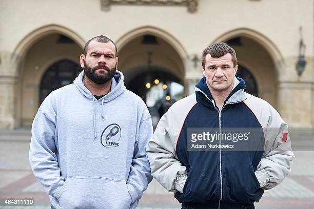 Gabriel Napao Gonzaga from Brazil and Mirko Cro Cop from Croatia pose for a portrait during a UFC photo session on February 24 2015 in Krakow Poland