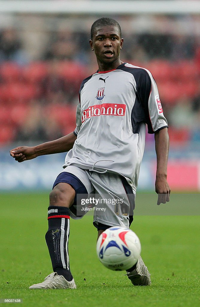 Gabriel Ngalula Mbuyi of Stoke City in action during the Coca-Cola Championship match between Southampton and Stoke City at St Mary's Stadium on October 29, 2005 in Southampton, England.