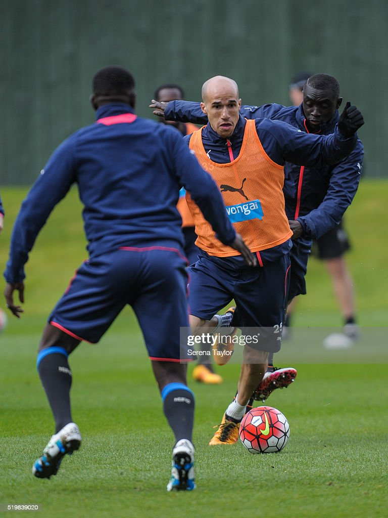 Gabriel Obertan (C) controls the ball during the Newcastle United Training session at The Newcastle United Training Centre on April 8, 2016 in Newcastle upon Tyne, England.