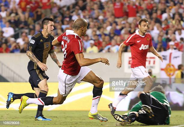 Gabriel Obertan of Manchester United scores their first goal during the pre-season friendly match between Philadelphia Union and Manchester United at...