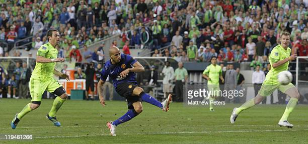 Gabriel Obertan of Manchester United scores their seventh goal during the pre-season friendly match between Seattle Sounders and Manchester United at...