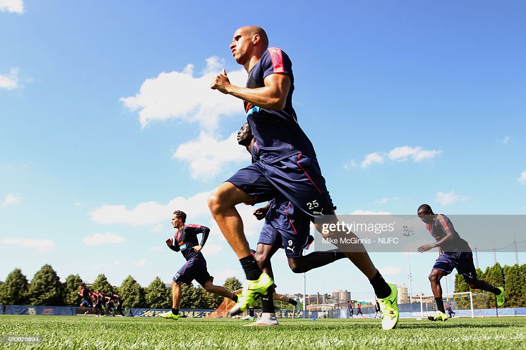 Gabriel Obertan #25 of the Newcastle United runs through some drills during practice at Marquette University Valley Fields on July 13, 2015, in Milwaukee, Wisconsin.