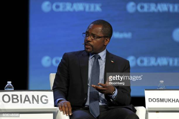 Gabriel Obiang Equatorial Guinea's mines hydrocarbons minister speaks during the 2018 CERAWeek by IHS Markit conference in Houston Texas US on...