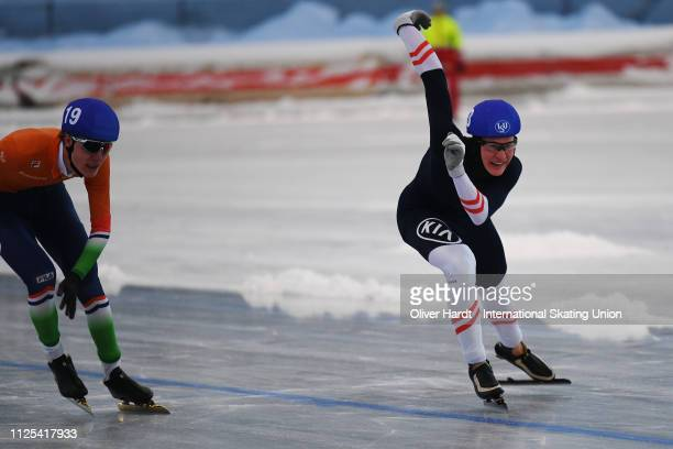 Gabriel Odor of Austria competes during the Mass Start Men Junior race Day two of Junior World Cup Speed Skating at the Oulunkylaen Liikuntapuistoon...