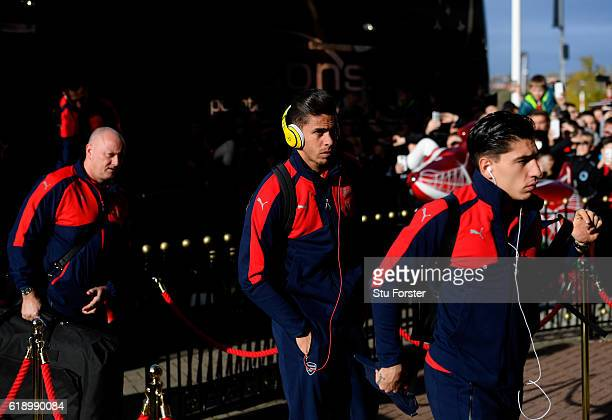 Gabriel of Arsenal and Hector Bellerin of Arsenal arrive at the stadiium prior to kick off during the Premier League match between Sunderland and...