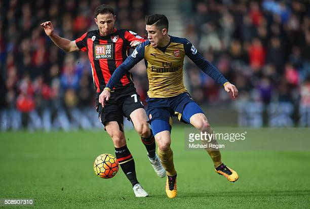 Gabriel of Arsenal battles with Marc Pugh of Bournemouth during the Barclays Premier League match between AFC Bournemouth and Arsenal at the Vitality...