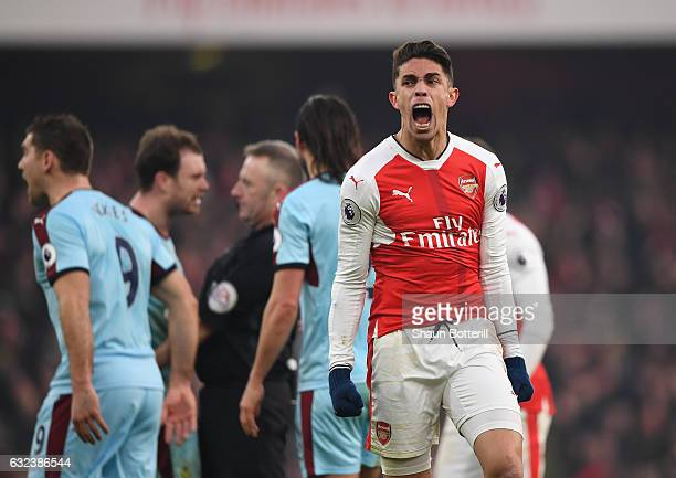 Gabriel of Arsenal celebrates as Arsenal is awarded a penalty during the Premier League match between Arsenal and Burnley at the Emirates Stadium on...