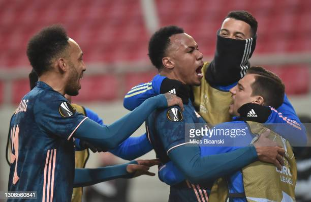 Gabriel of Arsenal celebrates with teammates Pierre-Emerick Aubameyang, Gabriel Martinelli and Cedric Soares after scoring their team's second goal...