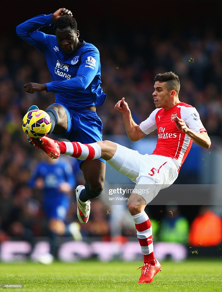 Gabriel of Arsenal challenges for the ball with Romelu Lukaku of Everton during the Barclays Premier League match between Arsenal and Everton at Emirates Stadium on March 1, 2015 in London, England.