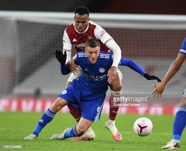 Gabriel of Arsenal challenges Jamie Vardy of Leicester during the Premier League match between Arsenal and Leicester City at Emirates Stadium on...