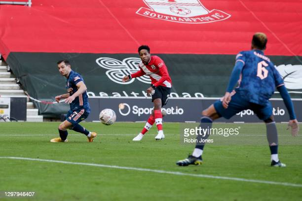 Gabriel of Arsenal deflects Kyle Walker-Peters of Southampton shot past his goalkeeper Bernd Leno to score an own goal to make it 1-0 during...