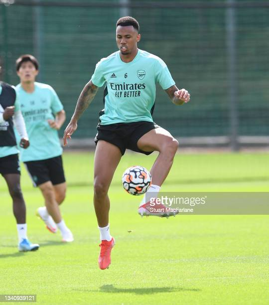 Gabriel of Arsenal during a training session at London Colney on September 17, 2021 in St Albans, England.