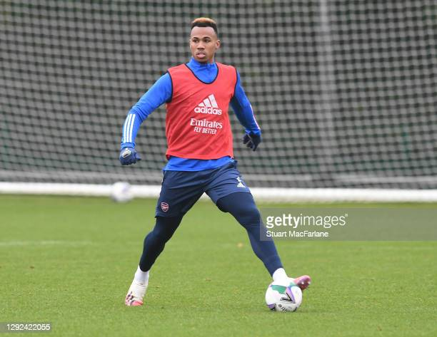 Gabriel of Arsenal during a training session at London Colney on December 21, 2020 in St Albans, England.