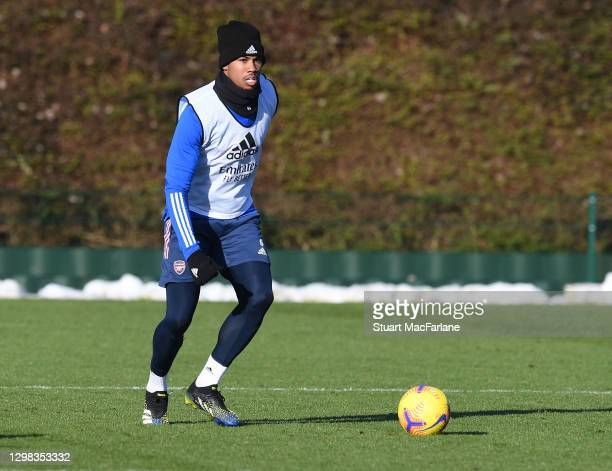 Gabriel of Arsenal during a training session at London Colney on January 25, 2021 in St Albans, England.