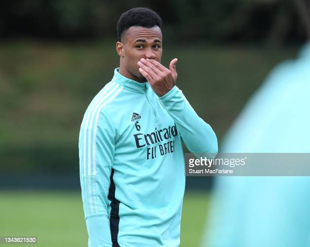 Gabriel of Arsenal during a training session at London Colney on September 28, 2021 in St Albans, England.