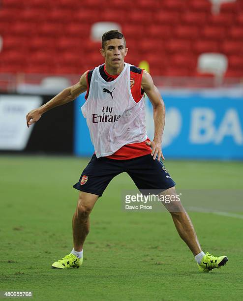 Gabriel of Arsenal during the Arsenal Training Session at Singapore National Stadium on July 14 2015 in Singapore
