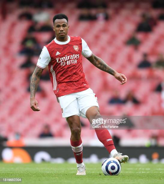 Gabriel of Arsenal during the Premier League match between Arsenal and Brighton & Hove Albion at Emirates Stadium on May 23, 2021 in London, England....