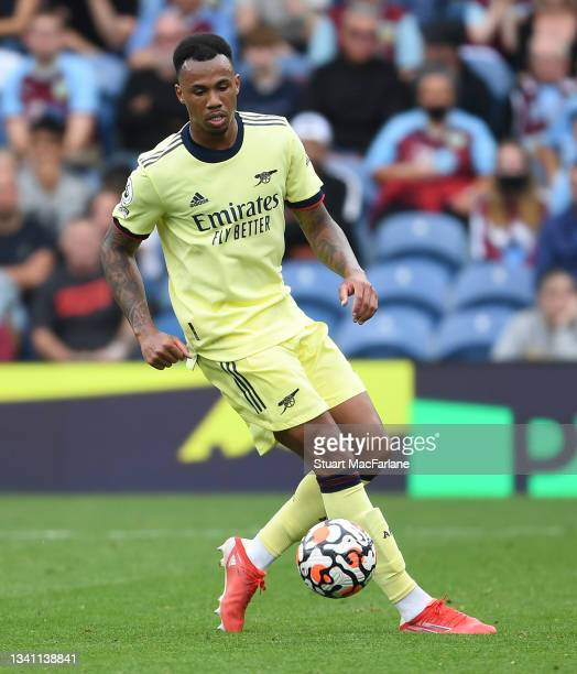 Gabriel of Arsenal during the Premier League match between Burnley and Arsenal at Turf Moor on September 18, 2021 in Burnley, England.