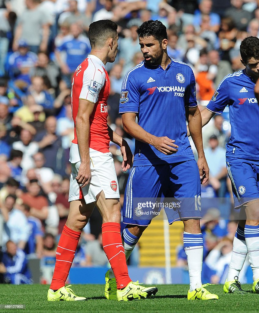 Gabriel of Arsenal has words with Diego Coasta of Chelsea during the Barclays Premier League match between Chelsea and Arsenal on September 19, 2015 in London, United Kingdom.