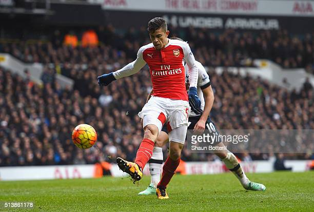 Gabriel of Arsenal in action during the Barclays Premier League match between Tottenham Hotspur and Arsenal at White Hart Lane on March 5 2016 in...