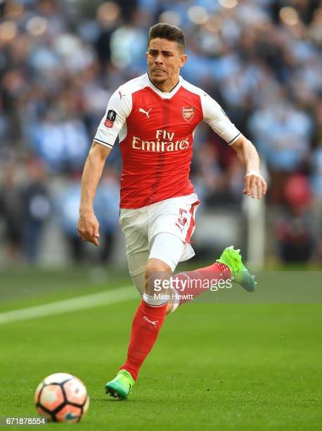 Gabriel of Arsenal in action during the Emirates FA Cup SemiFinal match between Arsenal and Manchester City at Wembley Stadium on April 23 2017 in...