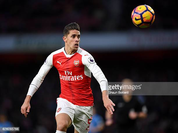 Gabriel of Arsenal in action during the Premier League match between Arsenal and AFC Bournemouth at Emirates Stadium on November 27 2016 in London...