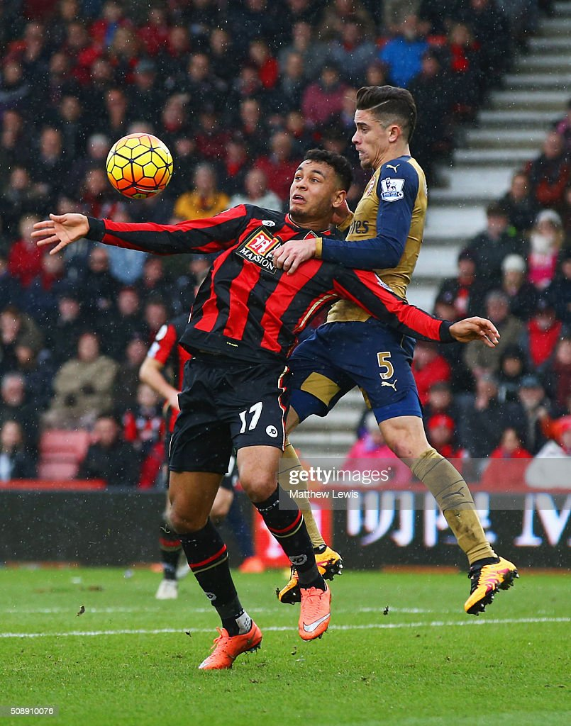 Gabriel of Arsenal jumps with Joshua King of Bournemouth during the Barclays Premier League match between A.F.C. Bournemouth and Arsenal at the Vitality Stadium on February 7, 2016 in Bournemouth, England.