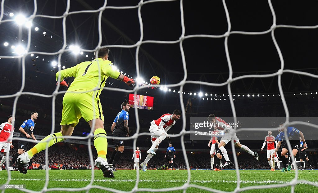 Gabriel of Arsenal scores his team's first goal during the Barclays Premier League match between Arsenal and A.F.C. Bournemouth at Emirates Stadium on December 28, 2015 in London, England.