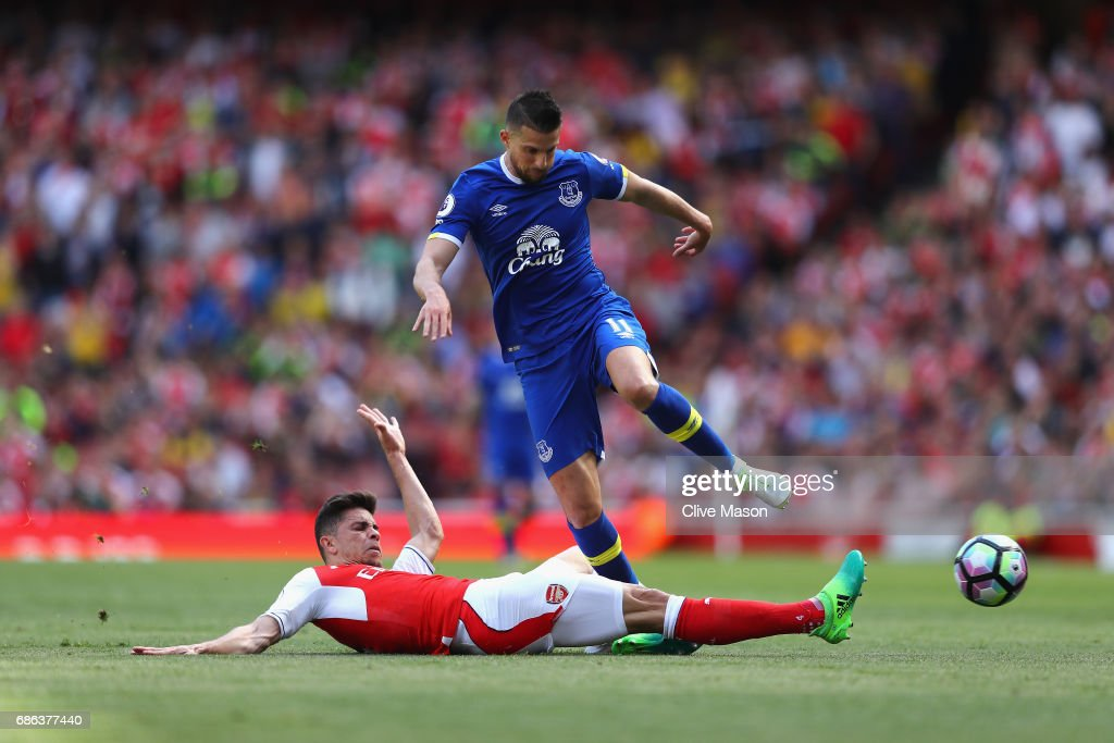 Gabriel of Arsenal tackles Kevin Mirallas of Everton during the Premier League match between Arsenal and Everton at Emirates Stadium on May 21, 2017 in London, England.