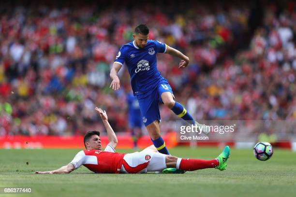 Gabriel of Arsenal tackles Kevin Mirallas of Everton during the Premier League match between Arsenal and Everton at Emirates Stadium on May 21 2017...