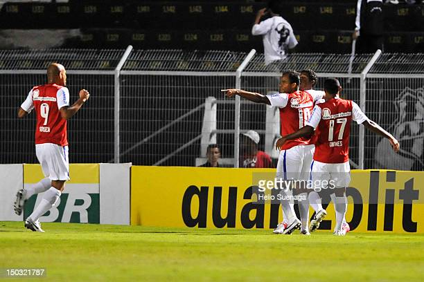 Gabriel of Bahia celebrate a goal against Ponte Preta during a match between Ponte Preta and Bahia as part of the Brasilian Serie A Championship at...