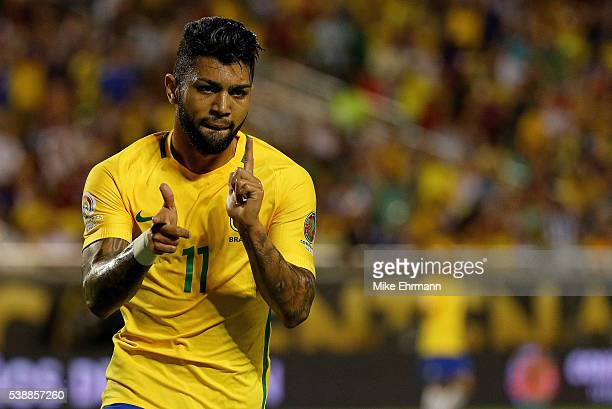 Gabriel of Brazil celebrates a goal during a Group B match of the 2016 Copa America Centenario against the Haiti at Camping World Stadium on June 8...