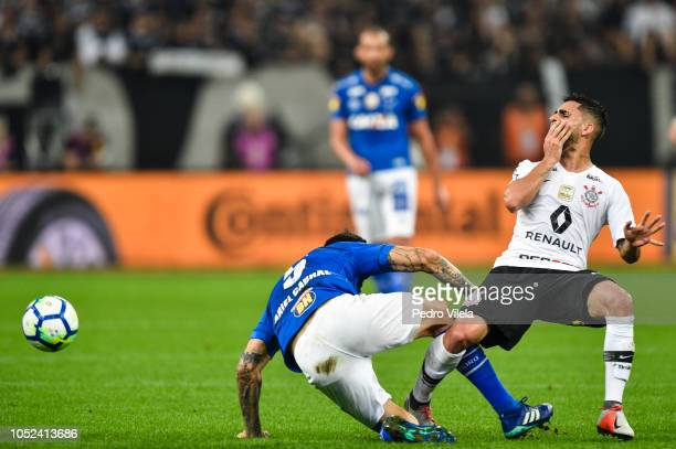 Gabriel of Corinthians and Ariel Cabral of Cruzeiro battle for the ball during a match between Corinthians and Cruzeiro as part of Copa do Brasil...