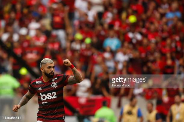 Gabriel of Flamengo celebrates after scoring a goal during a match between Flamengo and Athletico PR as part of Brasileirao Series A 2019 at Maracana...