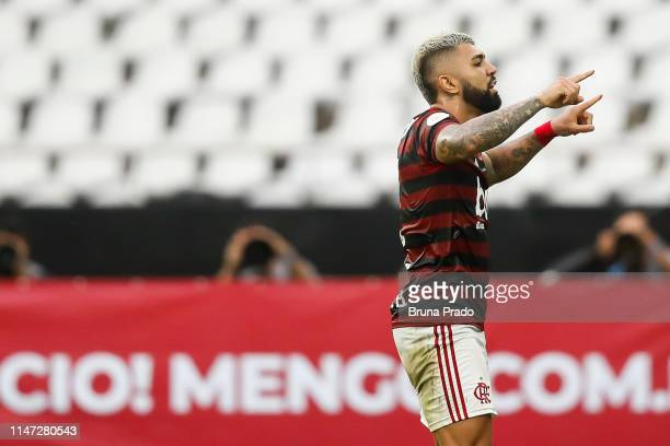 Gabriel of Flamengo celebrates after scoring the opening goal during a match between Flamengo and Fortaleza as part of Brasileirao Series A 2019 at...