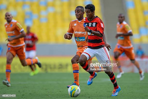 Gabriel of Flamengo fight for the ball during the match between Flamengo and Audax for the Carioca 2014 at Maracana on January 19 2014 in Rio de...