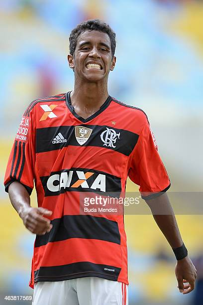 Gabriel of Flamengo laments lost a goal during the match between Flamengo and Audax for the Carioca 2014 at Maracana on January 19 2014 in Rio de...