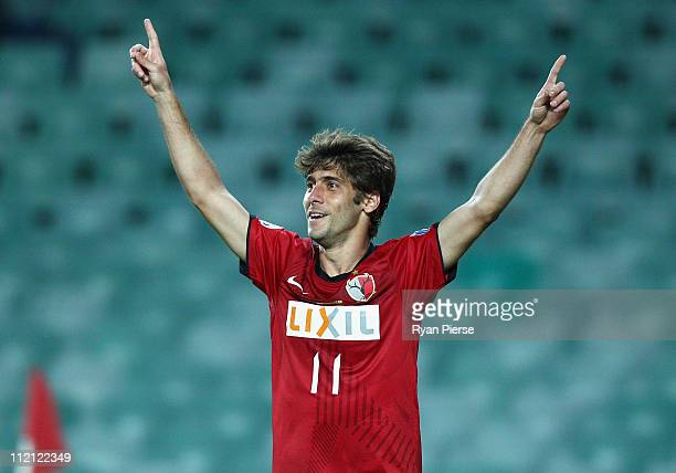 F Gabriel of Kashima celebrates after scoring his teams second goal during the group H AFC Champions League match between Sydney FC and the Kashima...
