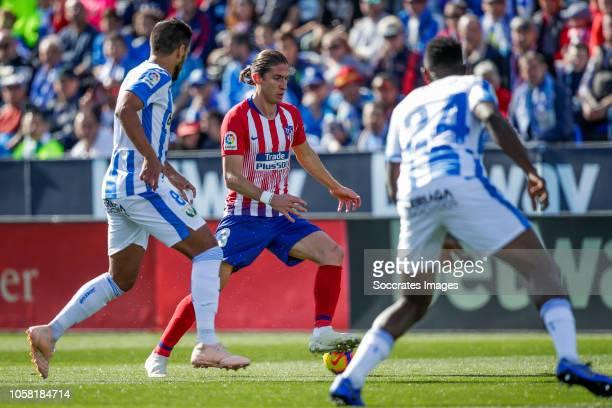 Gabriel of Leganes Filipe Luis of Atletico Madrid Kenneth Omeruo of Leganes during the La Liga Santander match between Leganes v Atletico Madrid at...