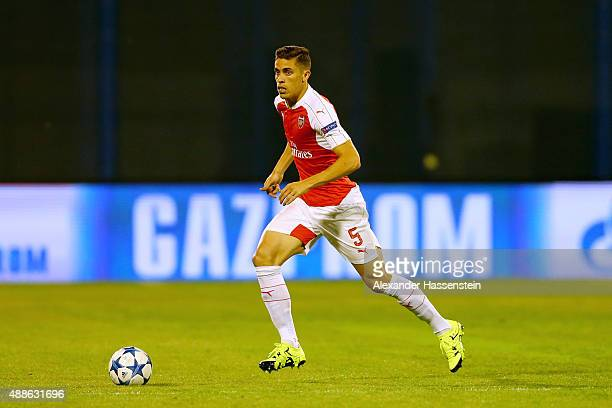 Gabriel of Londons runs with the ball during the UEFA Champions League Group F match between Dinamo Zagreb and Arsenal at Maksimir Stadium on...