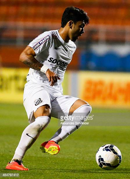 Gabriel of Santos in action during the match between Santos and Vitoria for the Brazilian Series A 2014 at Pacaembu stadium on September 6 2014 in...