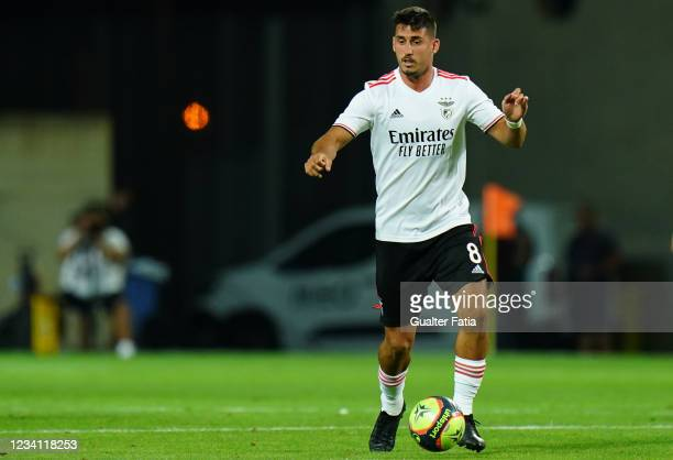 Gabriel of SL Benfica in action during the Pre-Season Friendly match between SL Benfica and Lille at Estadio Algarve on July 22, 2021 in Loule,...