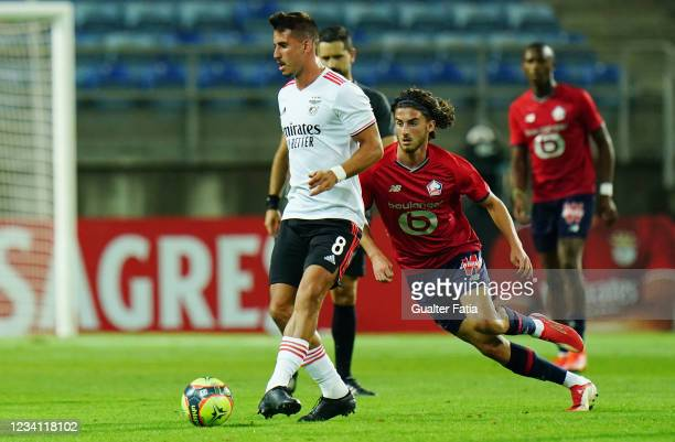 Gabriel of SL Benfica with Rocco Ascone of LOSC Lille in action during the Pre-Season Friendly match between SL Benfica and Lille at Estadio Algarve...