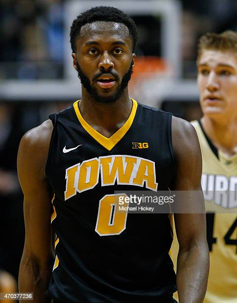 Gabriel Olaseni of the Iowa Hawkeyes is seen during the game against the Purdue Boilermakers at Mackey Arena on January 24 2015 in West Lafayette...