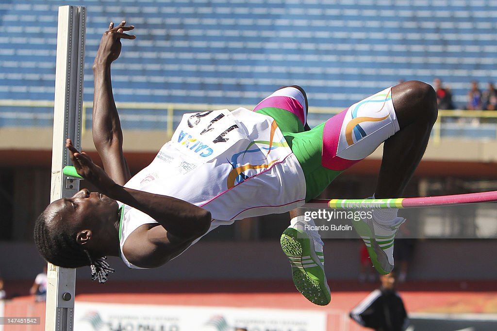 Gabriel Oliveira Constantino, from Brazil, competes in the High Jump Qualifying event during the third day of the Trofeu Brazil/Caixa 2012 Track and Field Championship at êcaro de Castro Mello Stadium on June 29, 2012 in Ibirapuera, Sao Paulo, Brazil.